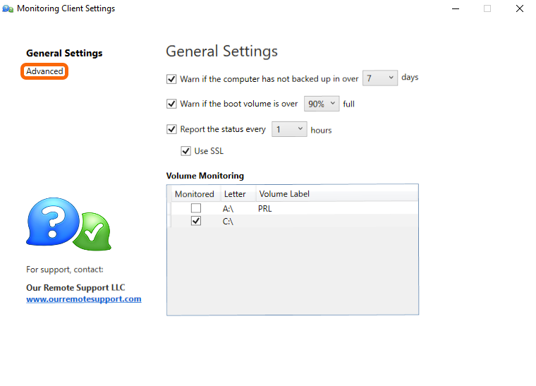 Windows Monitoring Client Control Panel > Disable Auto-update