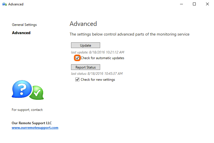 Monitoring Client Control Panel > Advanced : Check for automatic updates