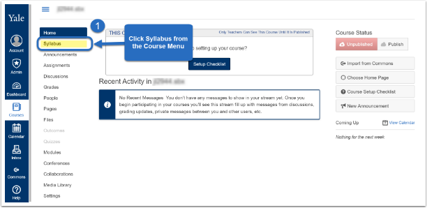 Screenshot to see where to click syllabus from course menu.