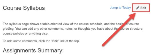 Edit The Syllabus Description
