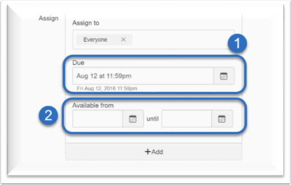 screenshot to identify where the due date and availability dates are within the assignment options.