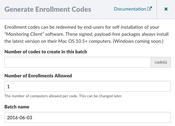 Generate Enrollment Codes Form