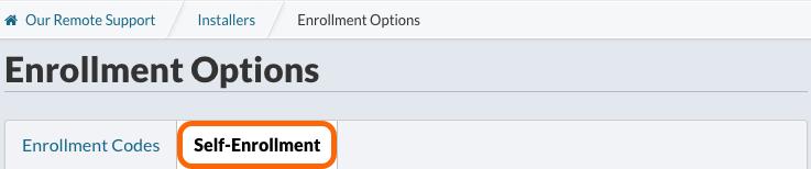Enrollment Options > Self-Enrollment