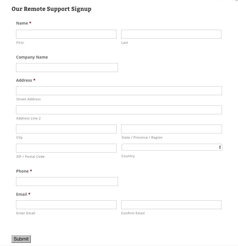 Example Enrollment Form