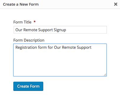 Create New Form: Title & Description