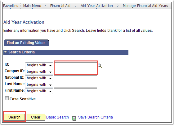 Aid Year Activation Page