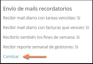 """Donde dice """"Envío de mails recordatorios"""" haz clic en """"cambiar""""."""