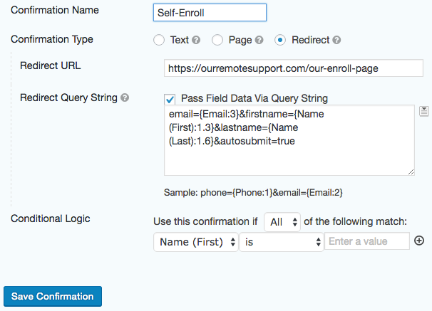 Option 3: Confirmation Redirect to Watchman Monitoring's Hosted Form