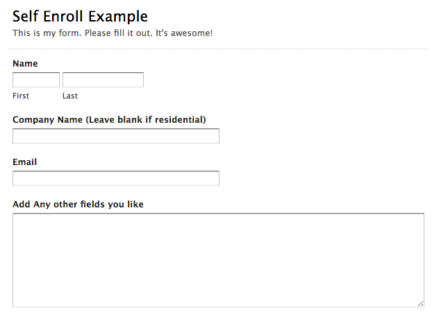 Self Enroll Example