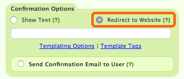Form Settings: Redirect to Website