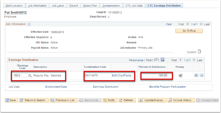 CTC Earnings Distribution tab
