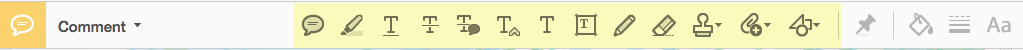 comments toolbar displayed