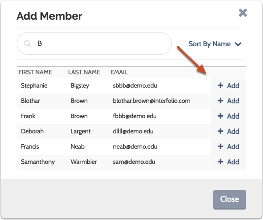 "Search for the user by first or last name, and click ""Add"" to add them to the committee"