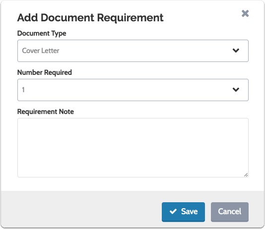 Set the number required of that document type