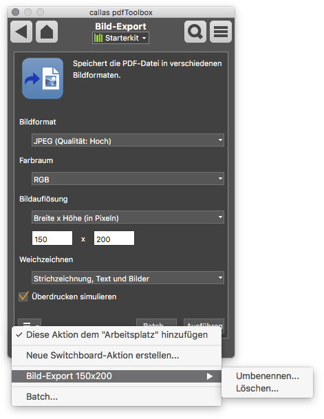 Switchboard-Aktion Liste