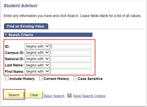 Student Advisor Search Criteria Fields