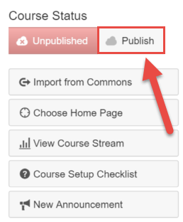Click Publish Button on the Course Status