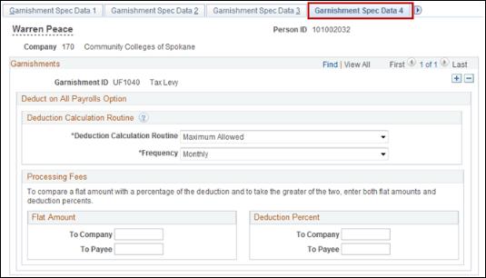 Garnishment Spec Data 4 tab