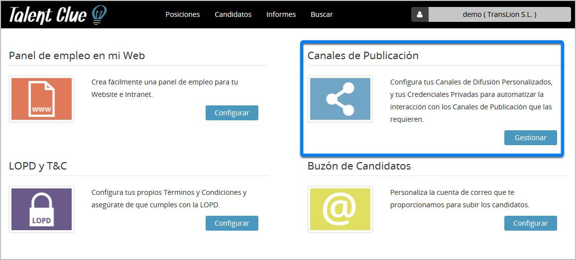 """Accede a """"Canales de Publicación"""""""