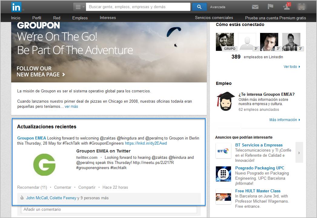 Vemos un ejemplo de la oferta en LinkedIn