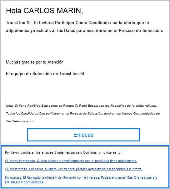 Este es un ejemplo de email que recibe el candidato