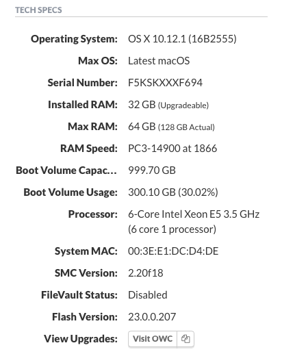 Example Mac Tech Specs
