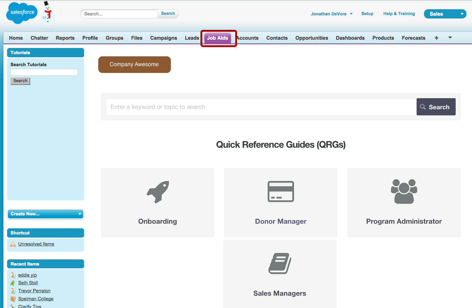 4. Add a help tab to Salesforce (optional)