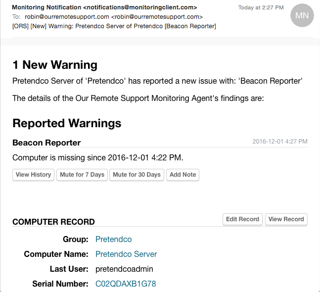 Example Beacon Alert Email