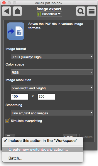 Bild Export - Details