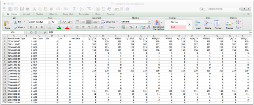 DRP Enabled User Defined Forecast in Weekly Buckets Upload File