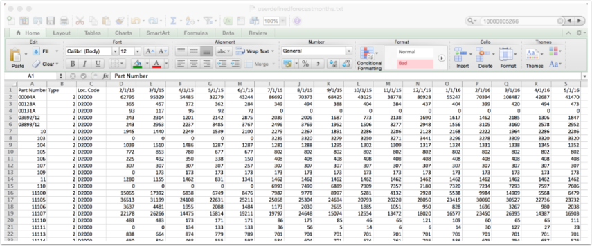 DRP Enabled User Defined Forecast in Monthly Buckets Upload File