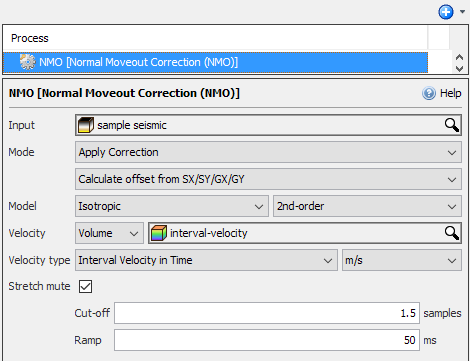 Define NMO correction settings