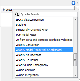 Create a velocity model process