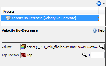 Define the velocity no-decrease settings