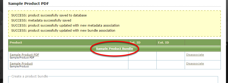 Your bundle is not yet published. To edit and publish your Product Bundle, click the bundle name.
