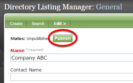 To publish, return to General under Edit, and click Publish.