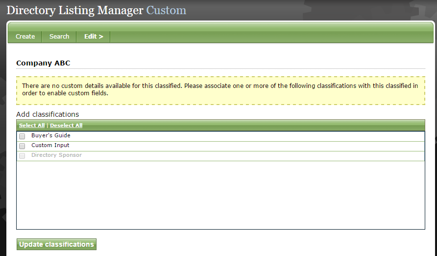 If no custom fields are set up for your website, a yellow box will appear on this tab.