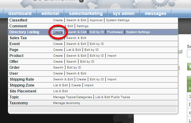 To create a new Directory Listing, click Create next to Directory Listing under Sales/Marketing in your dashboard.