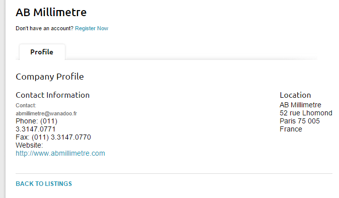 Here's an example of a basic listing on the same website.