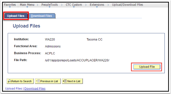 Upload Files Tab