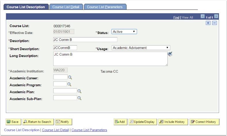 Course List Description tab