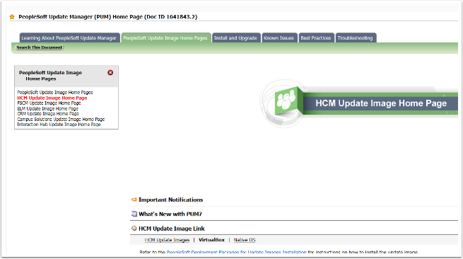 HCM Update Image Home Page