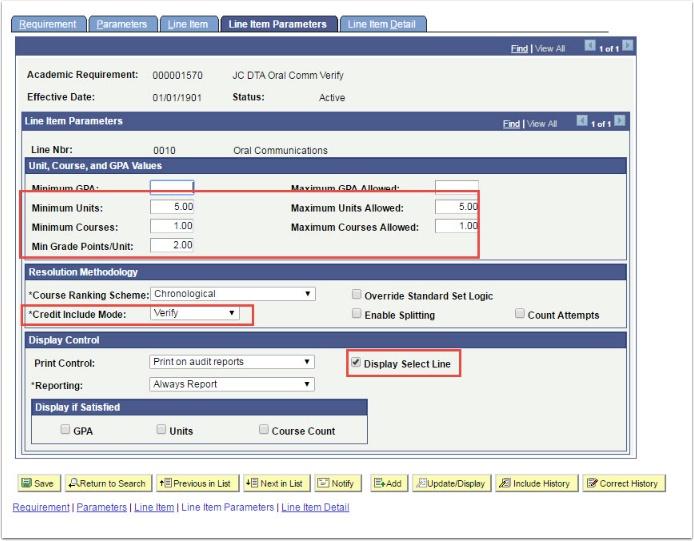 Line Item Parameters tab