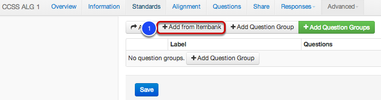 Adding Question Groups from an Itembank Assessment