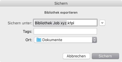 Name und Speicherort für die exportierte Bibliothek