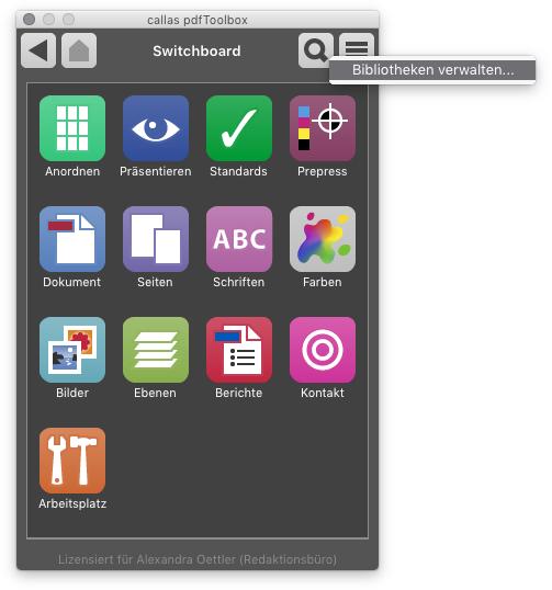 """Einstieg: Switchboard """"Bibliotheken verwalten"""""""