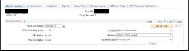 Work location tab