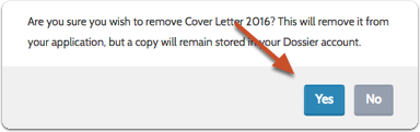 Confirm that you want to remove the document from the application