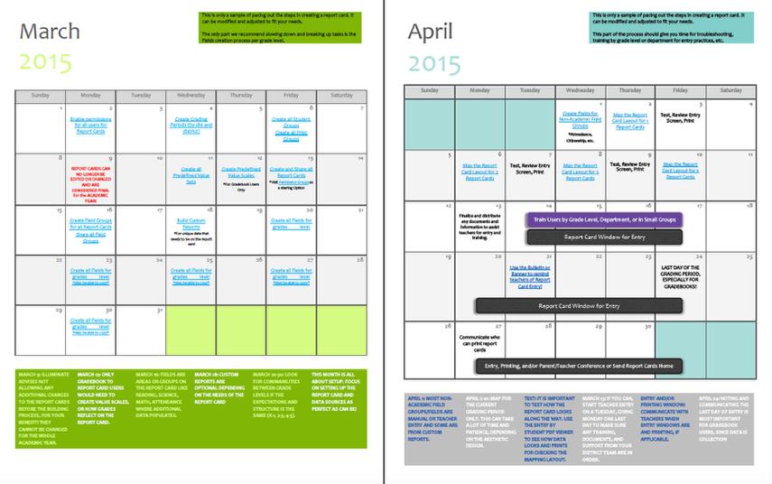 Report Card Building Calendar
