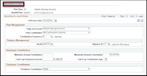 Spending Accounts tab